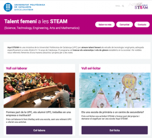 Screenshot of the Aqui Steam website https://aquisteam.upc.edu